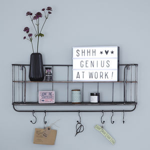 Two Shelf Metal Wall Unit With Hooks - shelves