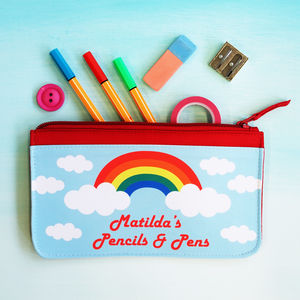 Personalised Rainbow Children's Pencil Case - pens, pencils & cases