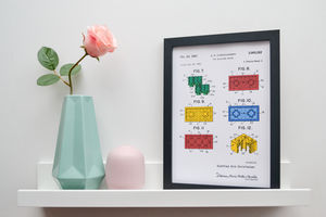 Framed Lego Block Sheet Two Coloured Art Print
