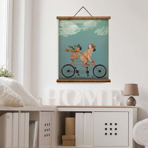 French Bulldogs On Tandem, Art Print