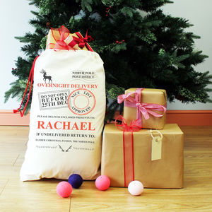 Personalised Overnight Delivery Christmas Present Sack
