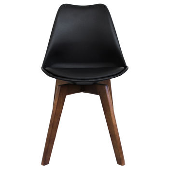 Black Copenhagen Chair With Square Walnut Wooden Legs