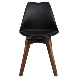 Black Copenhagen Chair With Square Walnut Wooden Legs - furniture