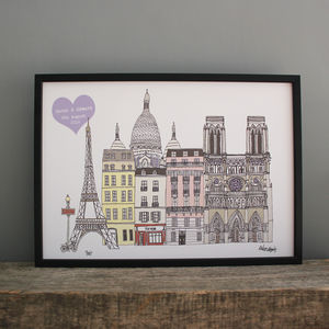 Paris Personalised Wedding Print - travel inspired wedding gifts