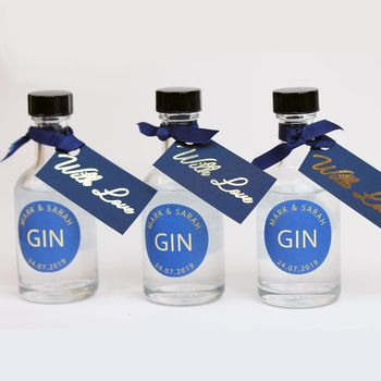 Miniature Gin Personalised Wedding Favours In Navy