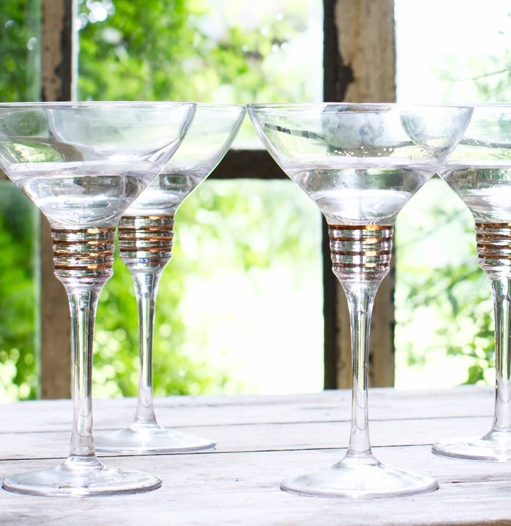 Set Of Four Spiralled Margarita Glasses