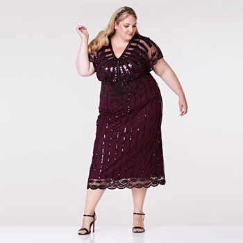 Plus Size Angel Sleeve Plum Maxi Hand Embellished