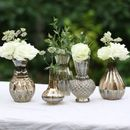 Five Bronze Posy Vases On Tray
