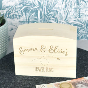 Travel Fund Wooden Money Box