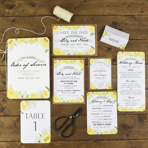 Yellow Spring Fields Wedding Stationery Range - wedding stationery
