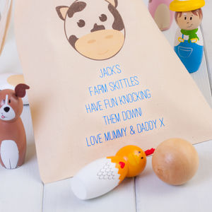 Children's Wooden Farm Animal Skittles Personalised Bag - traditional toys & games