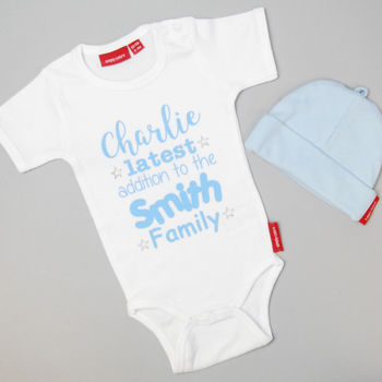 Personalised Latest Addition Babygrow Or T Shirt