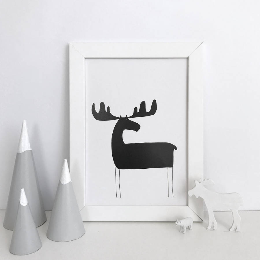 Moose Silhouette Illustration Print