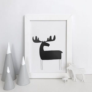 Moose Silhouette Illustration Print - children's room