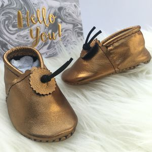 Black / Gold Leather Baby Booties - children's shoes, sandals & boots