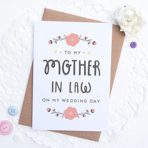 To My Mother In Law On My Wedding Day Card - wedding cards