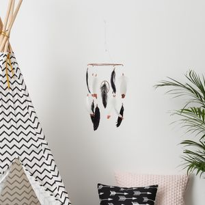 Children's Black And White Feather Mobile - mobiles