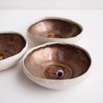 Handmade Mini Gold Ceramic Pottery Ring Dish