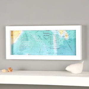 Maldives, Indian Ocean Hand Drawn Map Location Print - for the couple