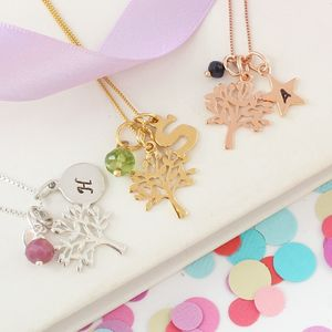 Mini Tree Of Life Necklace With Birthstones