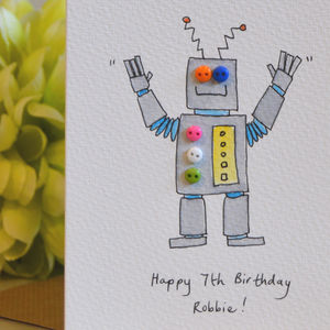 Personalised 'Button Robot' Handmade Birthday Card