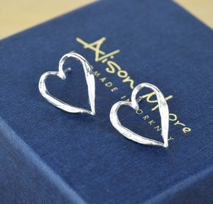 Sterling Silver Textured Heart Studs