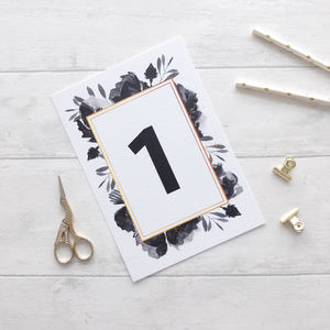 'Black Rose' Table Names Or Numbers - table numbers
