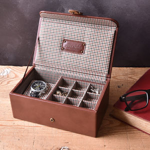 Personalised Leather Watch And Cufflink Box - new in home