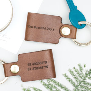 Leather Coordinate Keyring - gifts for him