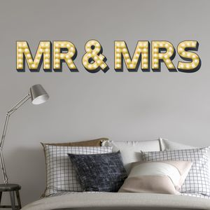 Mr And Mrs Light Up Letter Effect Wall Sticker