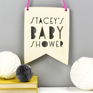 Personalised Baby Shower Pennant Flag
