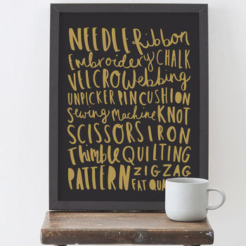 Sewing And Knitting Words Print