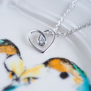 9ct White Gold Heart Diamond Necklace - bridal jewellery
