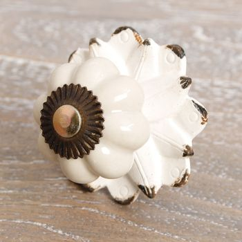 Vintage Lotus Lily Ceramic Drawer Pull Handle