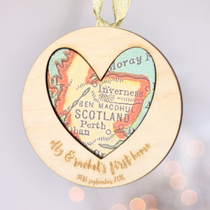 Personalised New Home Heart Map Decoration - maps & locations
