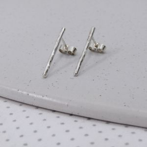 Handmade Silver Bar Studs - earrings