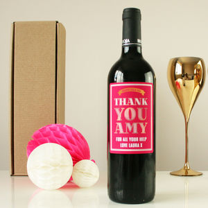 Personalised 'Thank You' Wine Gift - thank you gifts
