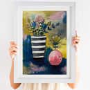 Flowers In Striped Grey Vase Art Print