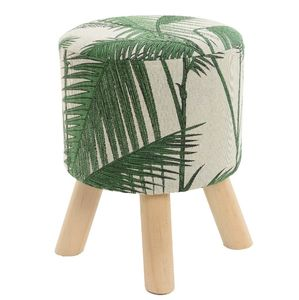 Woven Palm Print Upholstered Stool - furniture