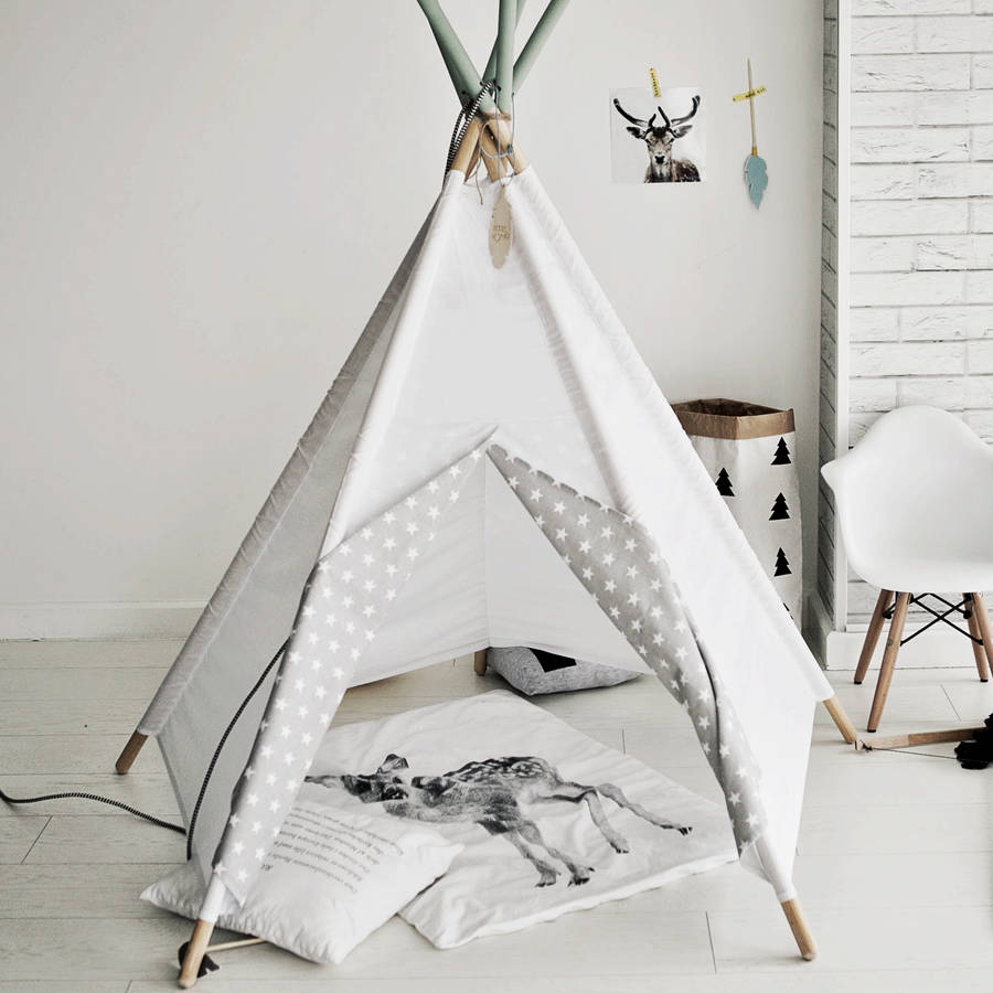 Star Print White Sky Teepee - shop by price & Teepee and Wigwams for Kids and Children | notonthehighstreet.com