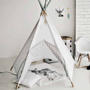 Star Print White Sky Teepee - tents, dens & teepees