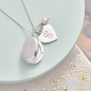 Silver Locket Necklace With Birthstones - 40th birthday gifts