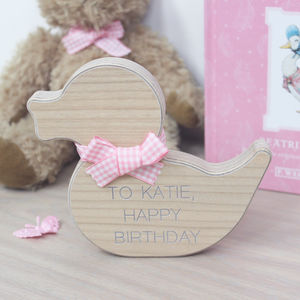 Personalised Wooden Duck Baby Keepsake - ornaments