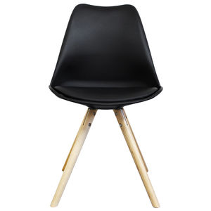 Black Copenhagen Chair With Wooden Legs - dining chairs