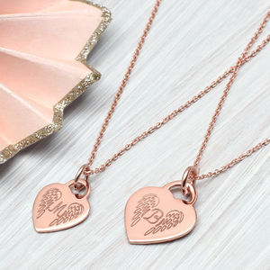 Personalised Rose Gold Angel Wing Initial Necklace