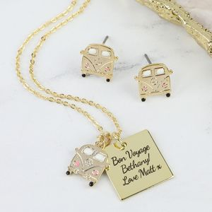 Personalised Gold Campervan Necklace And Earrings Set