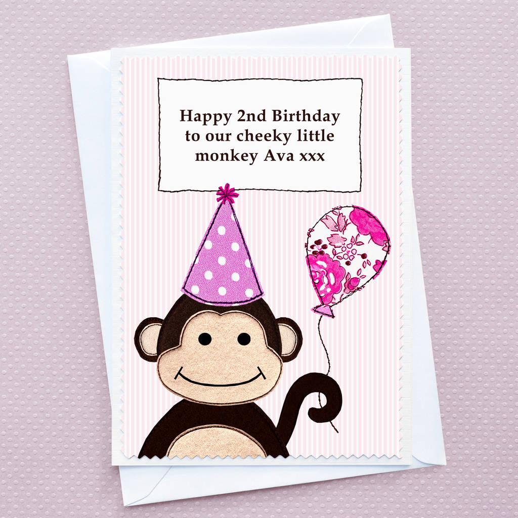 monkey personalised girls birthday card by jenny arnott cards – Birthday Cards Girls