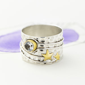 Celestial Moon Silver Ring - birthstone jewellery gifts