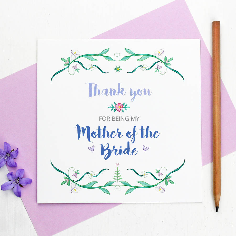Mother Of The Bride Or Groom Thank You Card By Martha Brook