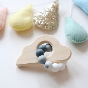 Cloud Shaped Beaded Rattle Toy - gifts for babies